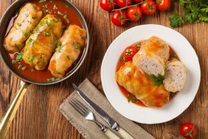 Traditional stuffed cabbage with minced meat and rice, served in